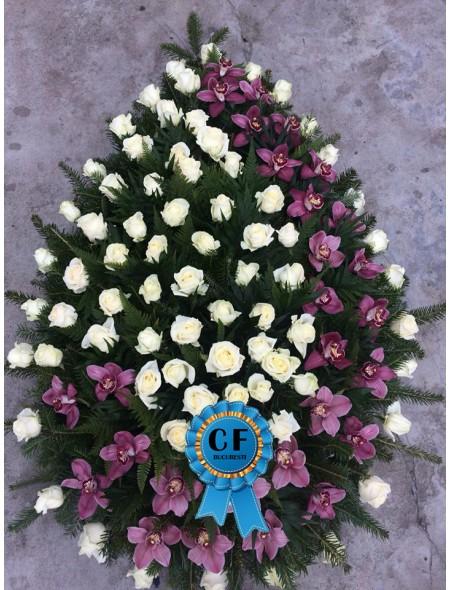 Coroana funerara din Trandafiri si Orhidee