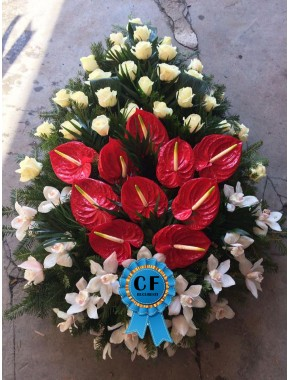 Coroana funerara din Trandafiri Orhidee si Anthurium