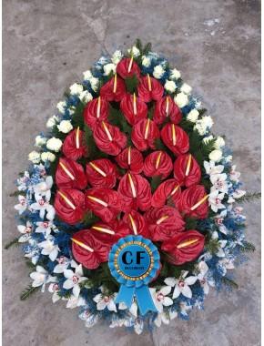 Coroana funerara Trandafiri Orhidee si Anthurium
