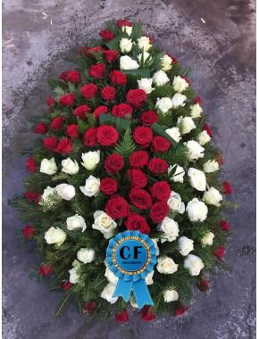 Coroana funerara din Trandafiri rosii
